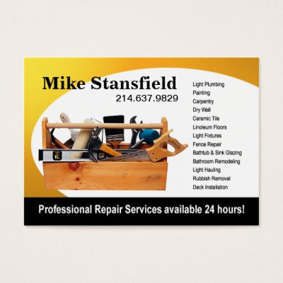 Handyman Gold Hammer and Wrench Home Repair Cool Business Card