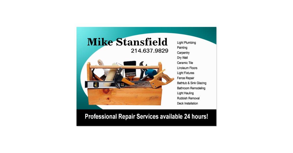 Home repair handyman large business card zazzle for Home repair business cards