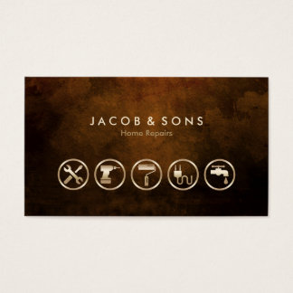 Home Repairs Gold Icons Brown Grunge Texture Business Card