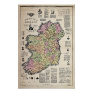 HOME RULE MAP of IRELAND 1893 Poster