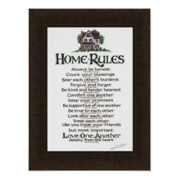 Home Rules Poster On Woodgrain Sheet by creativeconceptss at Zazzle