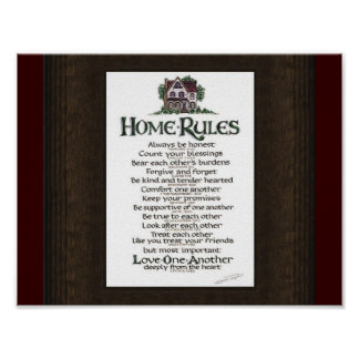 HOME RULES POSTER ON WOODGRAIN STYLE