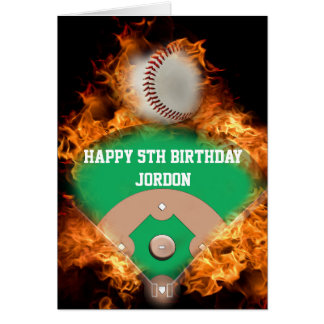 Home Run Baseball on fire Card