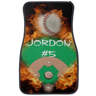 Home Run Baseball on fire Floor Mat