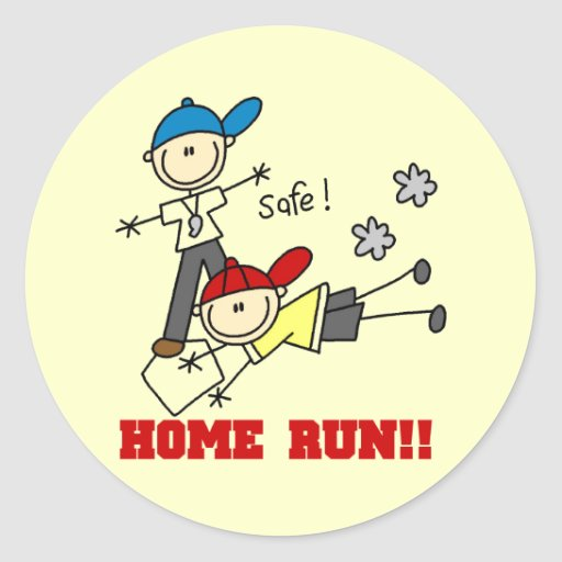 Home Run Boys Baseball Tshirts and Gifts Round Sticker