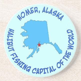 Home run capital de la pesca del halibut de Alask Posavasos Personalizados