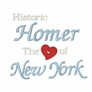 Home run-Corazón histórico del negro bordado NY de Camiseta Polo