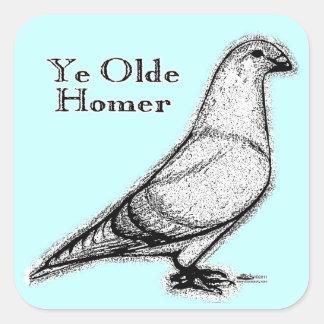Home run de YE Olde Calcomanías Cuadradas