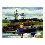 Home run - el Boat-1892 azul Tarjetas Postales