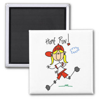 Home Run Girls Softball T-shirts and Gifts 2 Inch Square Magnet