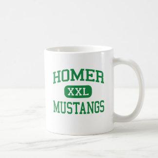Home run - mustangos - joven - Lockport Illinois Taza Básica Blanca