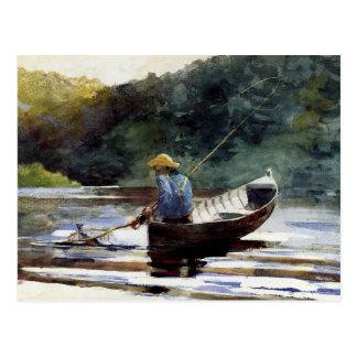 Home run - pesca del muchacho tarjetas postales