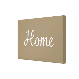 Home Script in White on Taupe Canvas Print