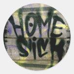 Home Sick Round Stickers