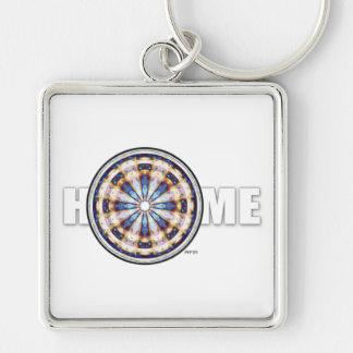 Home Silver-Colored Square Keychain