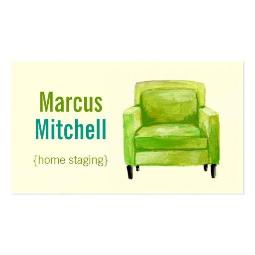 Home staging business cards horizontal green zazzle for Home staging business cards