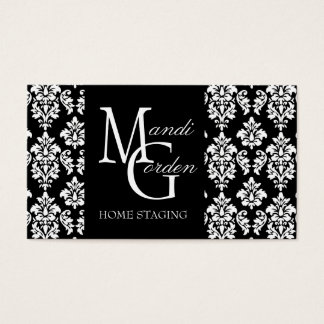 Home Staging Monogram Damask Business Cards