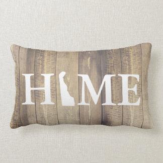 Home State Delaware Rustic Wood Family Name Lumbar Pillow
