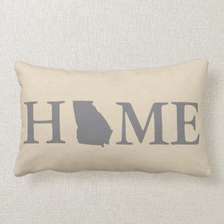 Home State Georgia Grey & Cream Lumbar Pillow