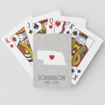 """Home State Map Art - Custom Name Nebraska Playing Cards<br><div class=""""desc"""">Home is where the heart is! You can add the bride and groom names or last name or even your city to this whimsical design. To move the heart,  you must open the design tool to move it around.</div>"""