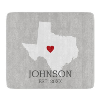 Home State Map Art - Custom Name Texas Cutting Boards