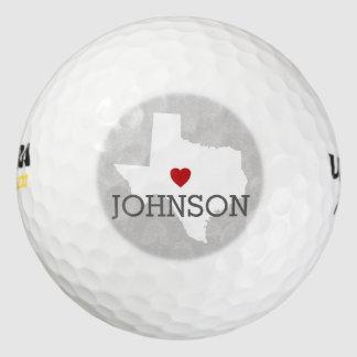 Home State Map Art - Custom Name Texas Golf Balls