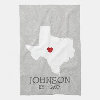 Home State Map Art - Custom Name Texas Hand Towel