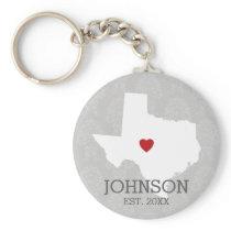 Home State Map Art - Custom Name Texas Keychain