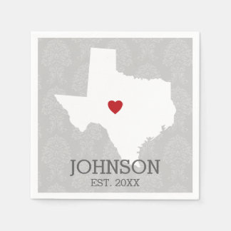 Home State Map Art - Custom Name Texas Napkin
