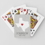 """Home State Map Art - Custom Name Texas Playing Cards<br><div class=""""desc"""">Home is where the heart is! You can add the bride and groom names or last name or even your city to this whimsical design. To move the heart,  you must open the design tool to move it around.</div>"""
