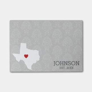 Home State Map Art - Custom Name Texas Post-it® Notes