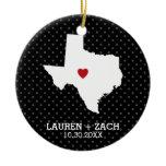 Home State Map Art - Custom Wedding Texas Ceramic Ornament