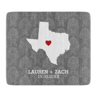 Home State Map Art - Custom Wedding Texas Cutting Board