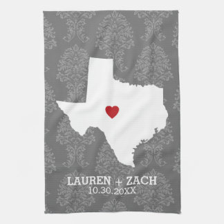 Home State Map Art - Custom Wedding Texas Kitchen Towel
