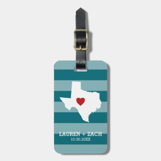 Home State Map Art - Custom Wedding Texas Luggage Tag