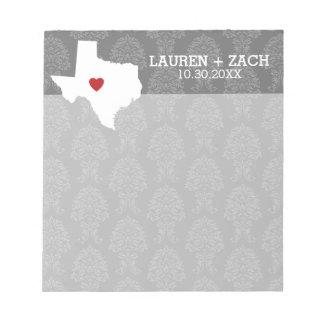Home State Map Art - Custom Wedding Texas Notepad