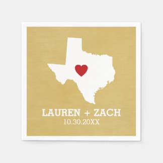 Home State Map Art - Custom Wedding Texas Paper Napkin