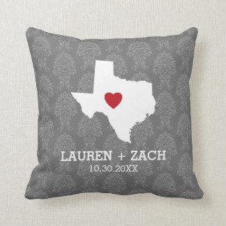 Home State Map Art - Custom Wedding Texas Pillow