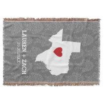 Home State Map Art - Custom Wedding Texas Throw Blanket