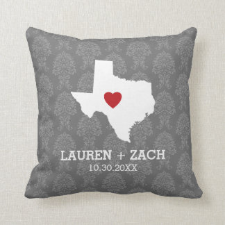 Home State Map Art - Custom Wedding Texas Throw Pillow