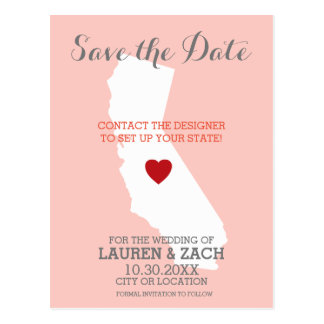 Home State Wedding Save the Date California Postcard