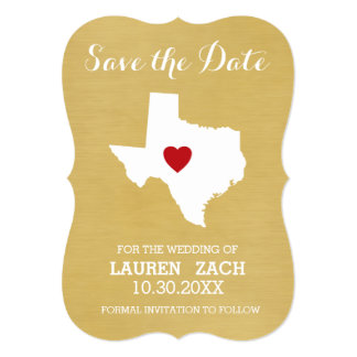 Home State Wedding Save the Date Texas Card