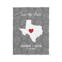 Home State Wedding Save the Date Texas Fleece Blanket