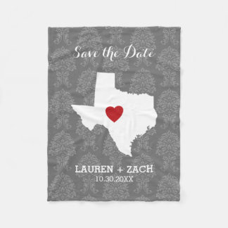Home State Wedding Save the Date Texas Fleece Blanket