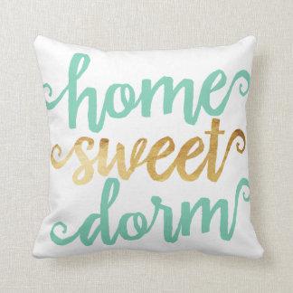 Home Sweet Dorm Gold Chevron Throw Pillow