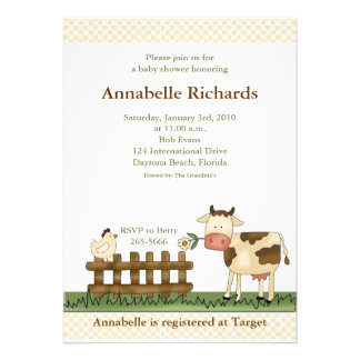Home Sweet Farm Cow Baby Shower Invitation