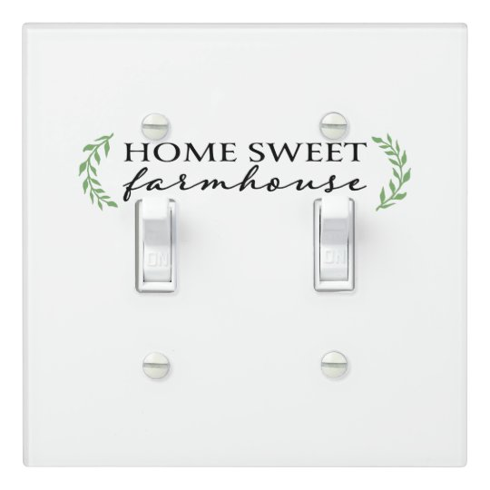 Home Sweet Farmhouse Green Botanical Leaves Light Switch Cover