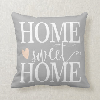 Home Sweet Home and pink heart Gray Throw Pillow