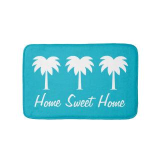 Home sweet home blue palm tree non slip bath mat