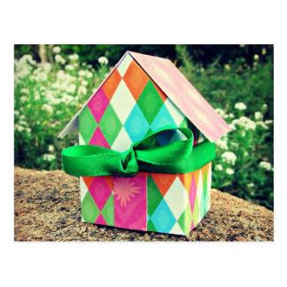 Home Sweet Home, bright, retro, kitsch, geometric Postcard